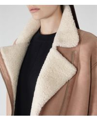 Reiss | Pink Pacy Shearling Aviator Jacket | Lyst