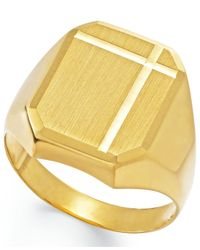 Macy's | Metallic Men's Polished Ring In 14k Gold | Lyst
