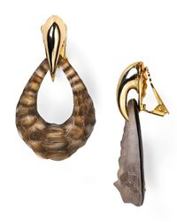 Alexis Bittar - Metallic Crocodiletextured Lucite Clip On Earrings - Lyst