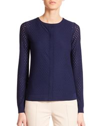 Akris Punto | Blue Perforated Wool Cardigan | Lyst