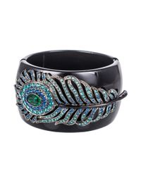 Kenneth Jay Lane | Black And Gunmetal Peacock Feather Cuff | Lyst