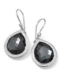 Ippolita | Metallic Stella Teardrop Earrings In Hematite & Diamonds | Lyst