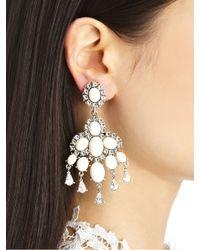 Oscar de la Renta | White Cabochon Chandelier Earrings | Lyst