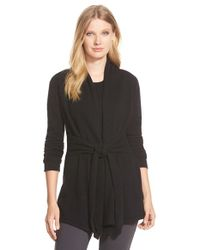 Pure Amici | Black Belted Cashmere Cardigan | Lyst