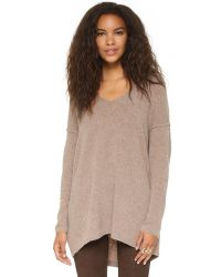 Free People | Gray Softly Vee Sweater | Lyst