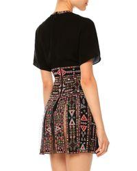 Valentino - Black Embroidered Short-sleeve Gladiator Dress - Lyst