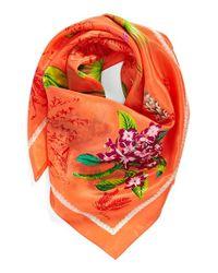 Echo - Orange 'Vintage Lily' Print Silk Square Scarf - Coral - Lyst