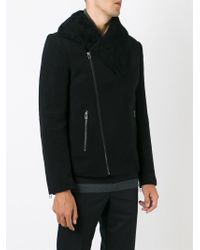 Unconditional - Black Shearling Collar Coat for Men - Lyst