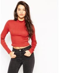 ASOS | Red Turtle Neck Crop Top In Rib | Lyst