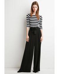 Forever 21 Black Belted Wide-leg Pants