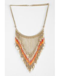 Urban Outfitters - Metallic Beaded Points Bib Necklace - Lyst