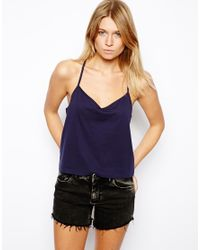 ASOS Blue Cropped Cami Top with V Neck