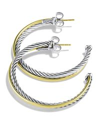 David Yurman - Metallic 'crossover' Extra-large Hoop Earrings With Gold - Lyst