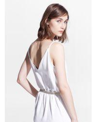 Mango White Belt Wrap Dress