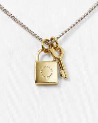"Marc By Marc Jacobs - Metallic Lock & Key Pendant Necklace, 17"" - Lyst"