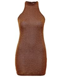 TOPSHOP - Brown High Neck Bodycon Dress By Glamorous - Lyst