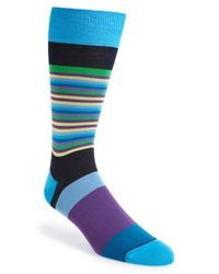 Bugatchi - Blue Multicolor Stripe Socks for Men - Lyst