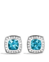 David Yurman Petite Albion Earrings With Blue Topaz & Diamonds
