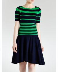 Lauren by Ralph Lauren | Green Striped Cotton Boatneck Dress | Lyst