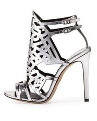 B Brian Atwood Gray Laconica Mirrored Laser-Cut Cage Sandal