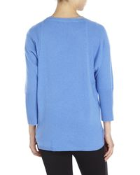 Magaschoni | Blue Three-Quarter Sleeve Cashmere Sweater | Lyst