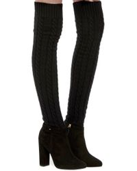Aquazzura - Black Suede Aspen Boots With Wool Cable-knit Shaft - Lyst