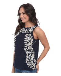 Lucky Brand - Blue Embroidered Shell - Lyst
