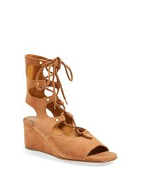 Chloé | Natural 'foster' Suede Wedge Gladiator Sandal | Lyst