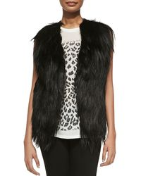 Haute Hippie Cropped Goat Fur  Leather Vest Black X-small