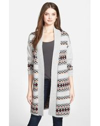 Caslon | Gray Patterned Long Cardigan | Lyst