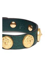 Valentino - Green Gryphon Stud Leather Bracelet - Lyst