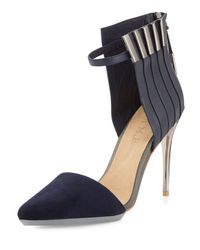 L.A.M.B. Blue Tomas Mixed Leather And Suede Pump