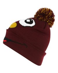 River Island Dark Red Smiley Face Beanie Hat for men