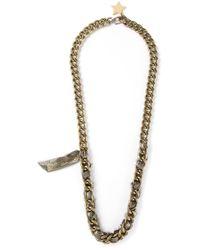 Lanvin Metallic Crystal Embellished Star Pendant Necklace