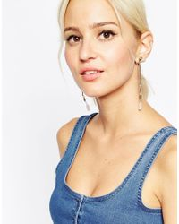 ASOS | Metallic Mini Quartz Nugget Swing Earrings | Lyst