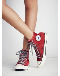 Free People | Red Converse Womens Overdyed Wash High Top Chucks | Lyst