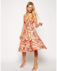 ASOS Orange Porcelain Print Bardot Midi Prom Dress