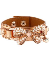Betsey Johnson - Pink Betsey Leather Pearl Bow Cuff - Lyst