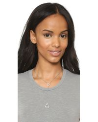 Michael Kors | Metallic Pave Traingle Lariat Necklace - Silver/clear | Lyst
