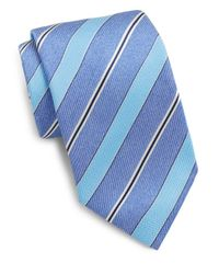 Saks Fifth Avenue | Blue Striped Silk Tie for Men | Lyst