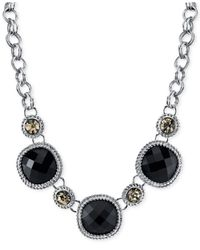 2028 | Silver-Tone Jet Black Faceted Frontal Necklace | Lyst