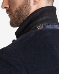 Ted Baker | Blue Deluxe Detachable Shearling Collar Coat for Men | Lyst