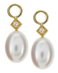 Jude Frances - White Pearl Briolette Earring Charms - Lyst