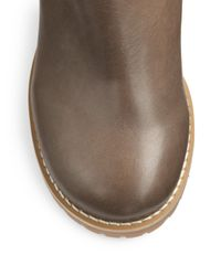 See By Chloé Gray Leather Wedge Kneehigh Boots