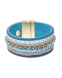 Cara | Blue Woven Cuff Bracelet | Lyst