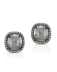 Anne Sisteron - Gray 14kt Oxidized Rose Gold Diamond And Raw Diamond Stud Earrings - Lyst