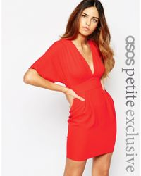 ASOS | Red Petite Obi Dress With Deep Plunge | Lyst