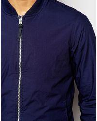 Pull&Bear - Blue Bomber Jacket In Navy for Men - Lyst