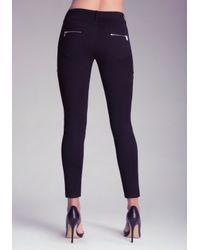 Bebe Black Moto Zip Skinny Pants