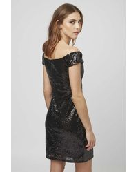 TOPSHOP - Black Bardot Sequin Mini Dress By Rare - Lyst